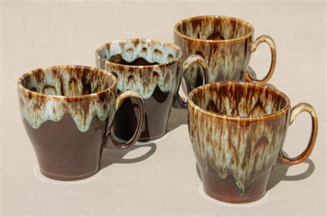 Set of vintage retro coffee labels. rustic vintage brown / green drip pottery coffee mugs, set ...
