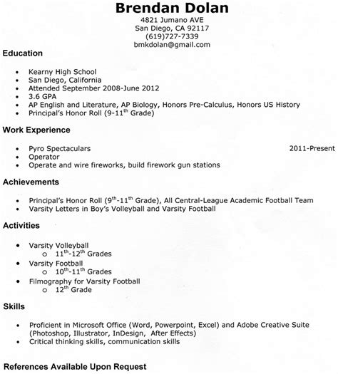 Shadowing Experience On Resume by Resume Brendan Senior Portfolio