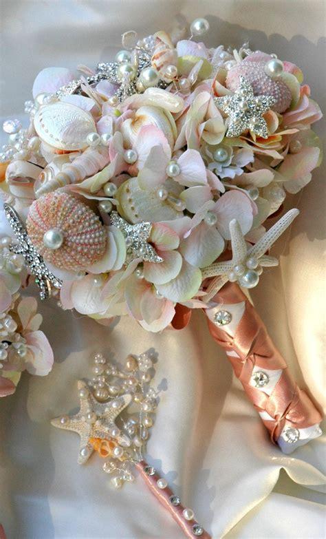 Pink Sea Shell Wedding Bouquet Blush Bridal Bouquet