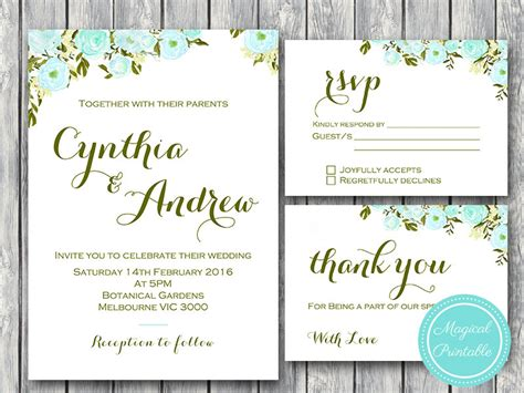 Blue Flower Wedding Invitation, Rsvp And Thank You Cards