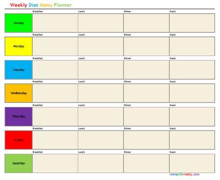 Diet Calendar Template by Next Challenge One Week Of Menu Plans 7 Days Fitness