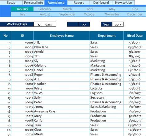 employee attendance spreadsheet  excel templates