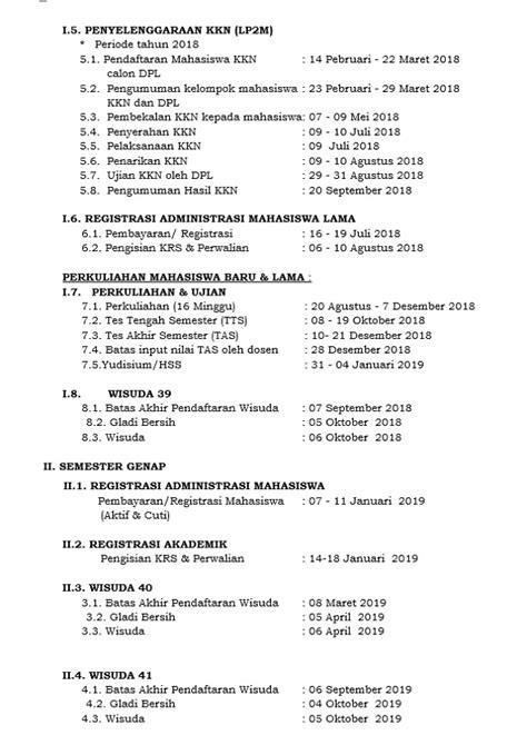 Kalender Akademik 2018-2019 -Fakultas Syariah