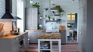 Arbeitsplatte Küche Ikea : ikea k che ideen in grau dekor mit massivholz arbeitsplatte ~ Michelbontemps.com Haus und Dekorationen
