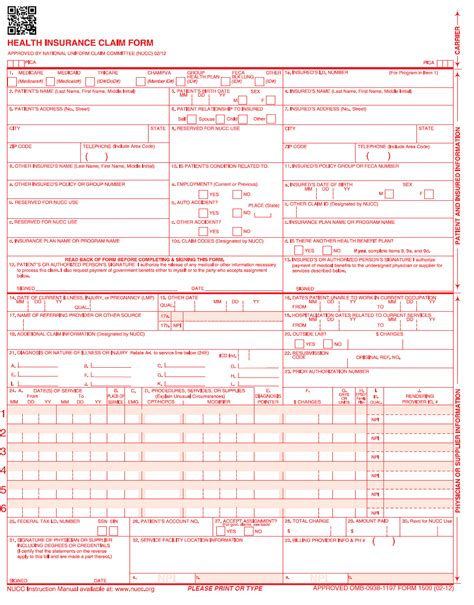 free cms 1500 template for word claim form templates free printable