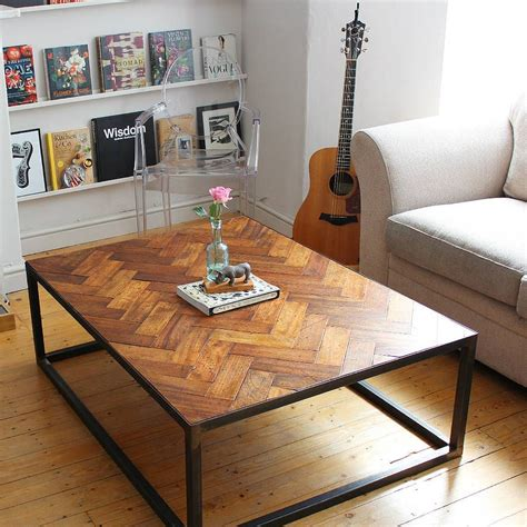 Parquet 56 reclaimed wood desk with drawer $ 1,899. Large Upcycled Parquet Floor Coffee Table   Reclaimed parquet flooring, Reclaimed wood coffee ...
