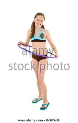 Girl In Swimsuit With Hula Hoop And Family Playing In