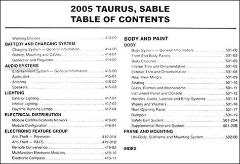 car engine repair manual 2005 mercury sable engine control 2005 ford taurus mercury sable repair shop manual original