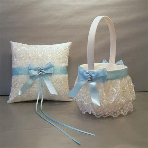 light blue wedding bridal flower basket and ring
