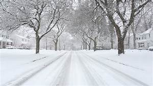 Storm Snow Blizzard Small Rural Town With Cars Drive ...