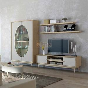Ensemble Salon Scandinave : ensemble meuble tv 5 pi ces style scandinave bois et laque slice ~ Teatrodelosmanantiales.com Idées de Décoration