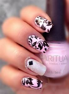 Light Pink with Black Leaves nail art by Debbie ...