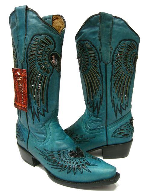 womens ladies turquoise leather western cowboy boots