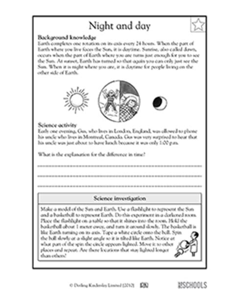 5th grade science worksheets here day there