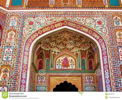 india architecture colorful wall mural painting stock