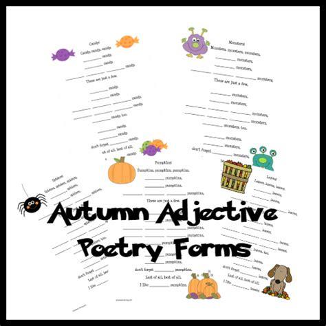 Autumn Adjective Poem Printables  Amy's Wandering