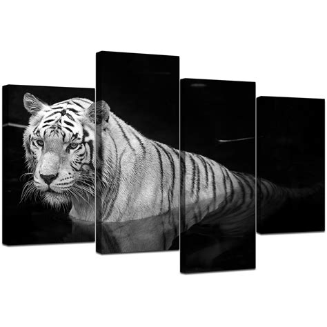 black and white tiger canvas wall for bedroom