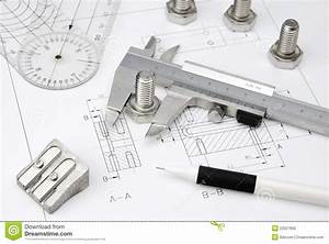 Engineering Tools On Technical Drawing Royalty