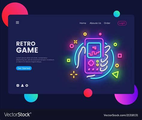 retro games website concept banner design vector image