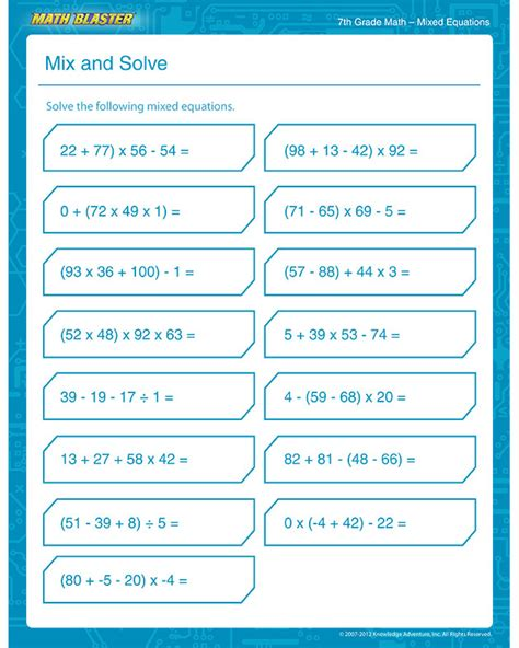 mix and solve free 7th grade math printable pdf