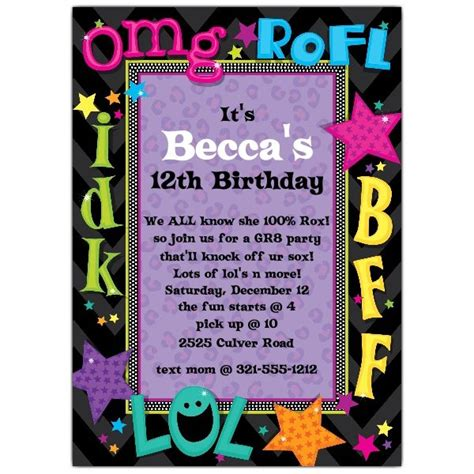 teen talk birthday party invitations paperstyle