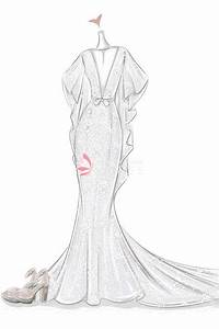 Sketch of Plunging V-neck Flutter Sleeves Mermaid Lace ...