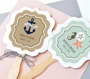 nautical wedding favor fans paddle fan hand fan by modparty With fans for wedding favors