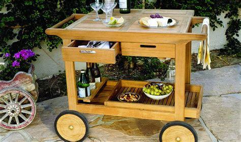 kingsley bate teak outdoor serving cart traditional