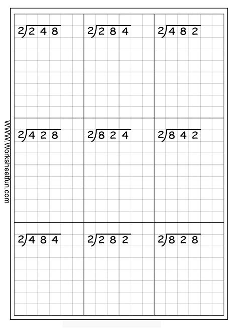 long division 3 digits by 1 digit no remainder 20