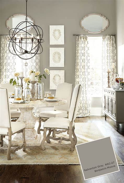 benjamin galveston gray dining room with pedestal