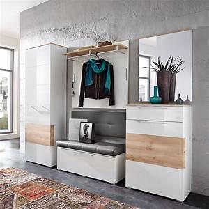Flurgarderobe Mit Sitzbank : garderobenset reno garderobe schrank bank spiegel in wei hochglanz und buche ebay ~ Indierocktalk.com Haus und Dekorationen