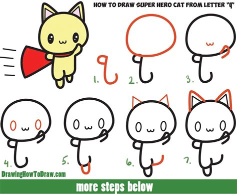 draw  cute cat super hero kawaii  easy step