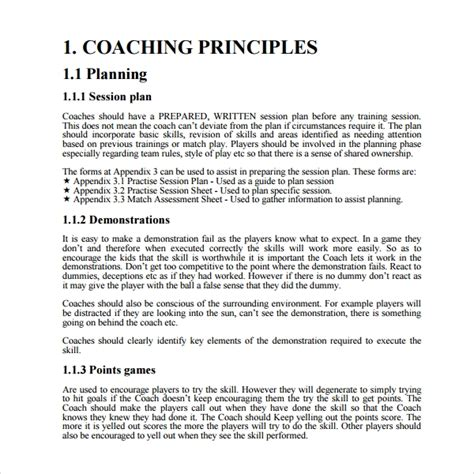 coaching plan templates   ms word pages