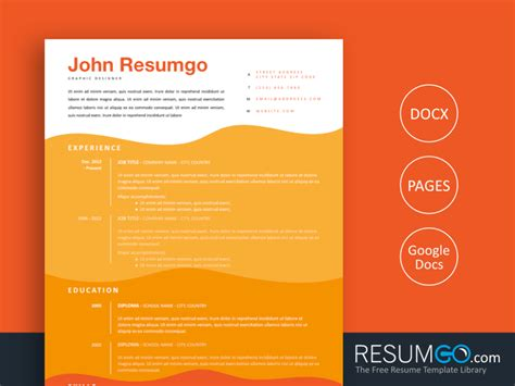 All artwork and text is fully customisable; STELIOS - Wavy Orange Resume Template - ResumGO.com ...