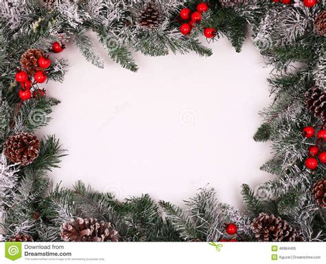 Christmas Decorative Border With Holly Berries Stock Image
