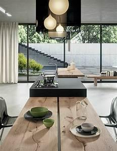 La cuisine equipee avec ilot central 66 idees en photos for Petite cuisine équipée avec grande table a manger bois