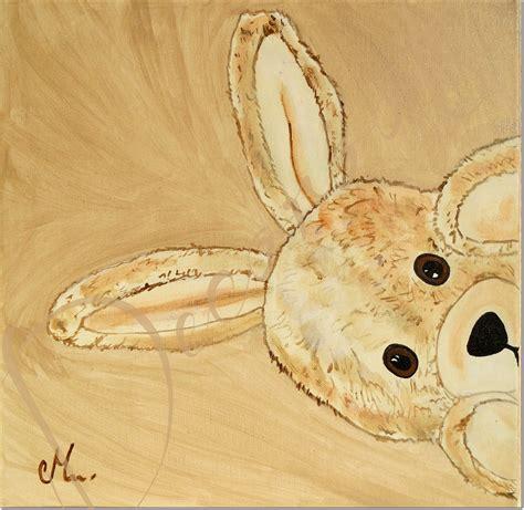 tableau chambre bebe garcon tableau enfant bébé esthéban le lapin en peluche cache