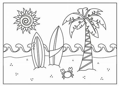 Coloring Summer Pages Holiday Beach Printable Scene