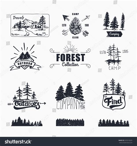 Handdrawn Logo Set Retro Collection Outdoor Stock Vector