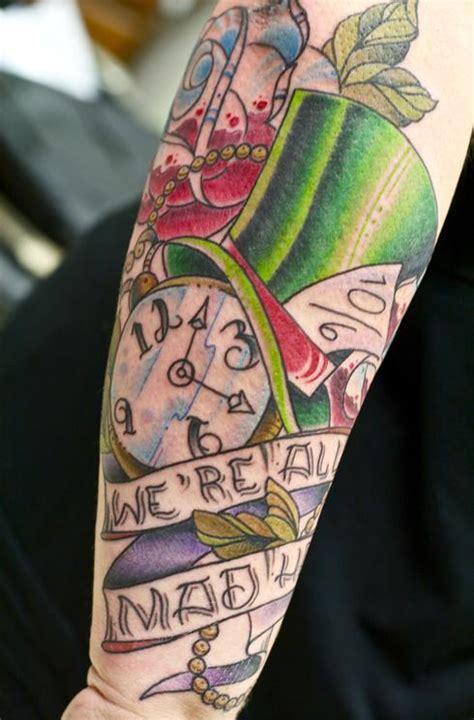alice  wonderland   mad arm tattoo