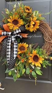 Sunflower, Wreath, Housewarming, Gift, Sunflowers, Wreath, Sunflower, Front, Door, Wreath, Sassy, Doors