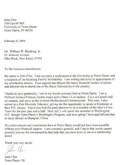 letter  scholarship student