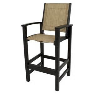 polywood 174 coastal patio sling bar height chair target