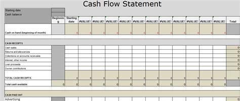 Flow Statement Template Flow Statement Excel Template