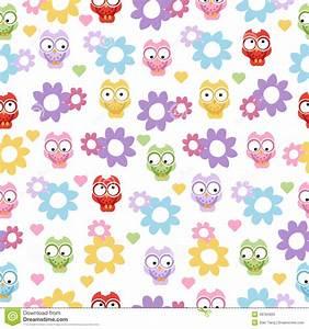 Stock Photos: Seamless pastel powder color owl background ...