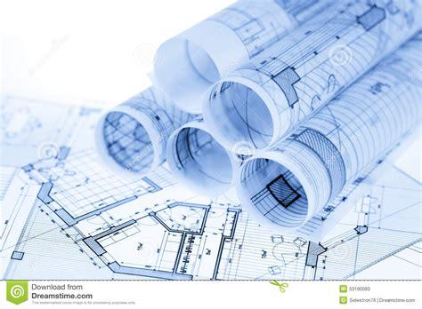 home architect plans rolls of architecture blueprints stock illustration