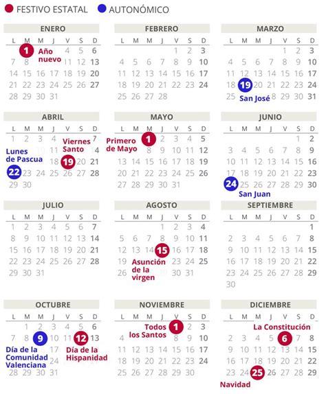 calendario laboral comunidad valenciana todos