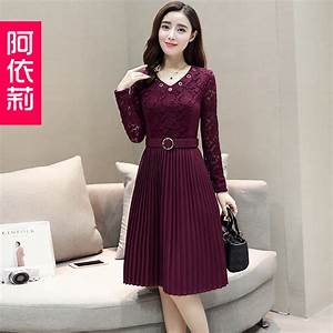 Aeli 2017 Korean fashion new spring lady red dress in the ...