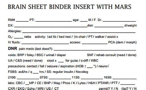 nurse brain sheets binder insert  mars scrubs