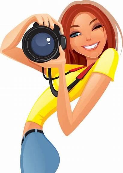 Photographer Female Woman Vector Photographe Clip Illustrations
